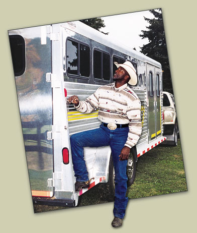 Mel Blount and his horse trailer